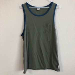 Hollister Army Green Tank Top With Blue Trim